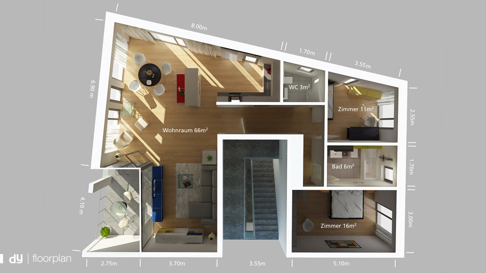 3D floorplan visualisation